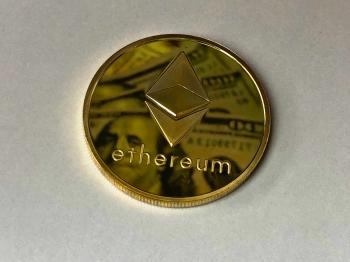 Round Gold-colored Ethereum Ornament