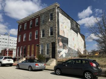 Rowhouse group and mural, 1105-1109 Brentwood Avenue, Baltimore, MD 21202