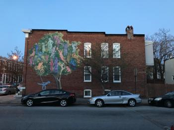 Rowhouse mural, 401 Whitridge Avenue, Baltimore, MD 21218