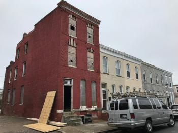 Rowhouse rehabilitation in progress, 411 E. 27th Street, Baltimore, MD 21218