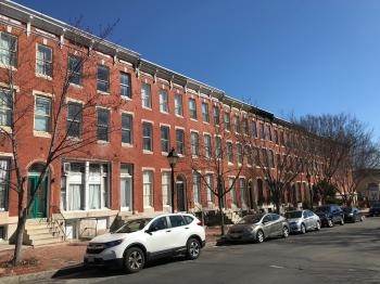 Rowhouses, 1500 block of Hollins Street, Baltimore, MD 21223