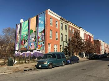 Rowhouses and mural, 200 block of E. 22nd Street, Baltimore, MD 21218