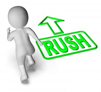 Rush And Running 3D Character Shows Urgent Hurry Priority