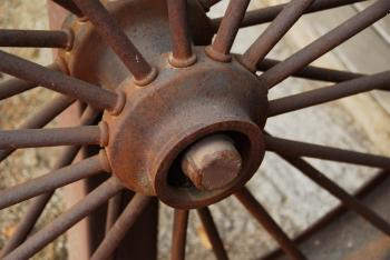 Rusted Iron Wagon Wheel