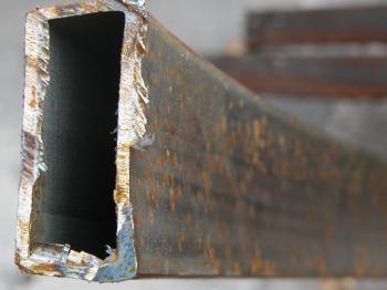 Rusted metal bar closeup