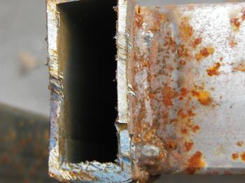 Rusted metal bar closeup