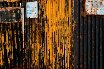 Rusted metal container