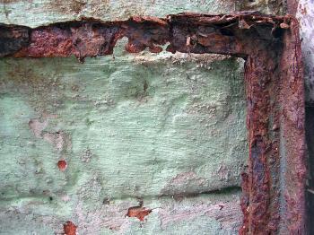 Rusted metal frame