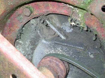 Rusted metal wheel