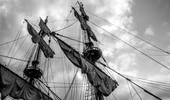 Sailing ship's masts with sails
