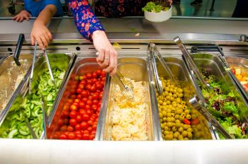 Salad bar with vegetables