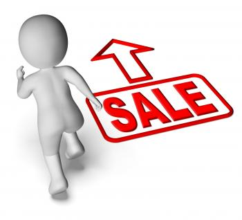 Sale And Running 3D Character Shows Hurry Save Promotion