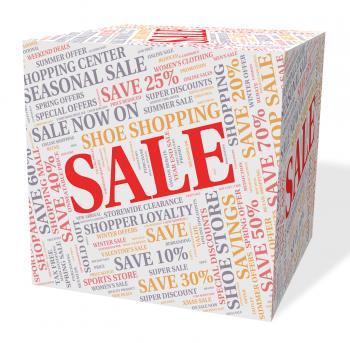 Sale Cube Represents Words Offers And Bargains