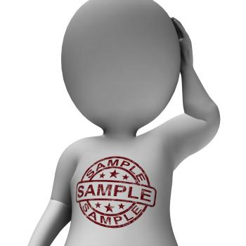 Sample Stamp On Man Shows Example Or Taste