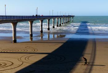 Sand artist. New Brighton Pier.