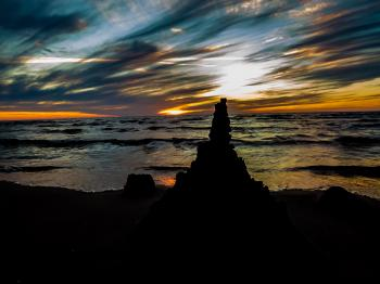 Sand castle silhouette