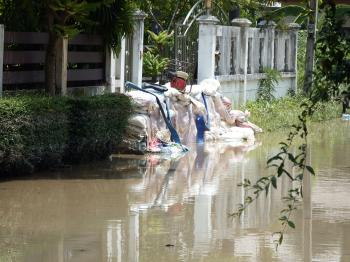 Sandbags Protecting Against Flood Water