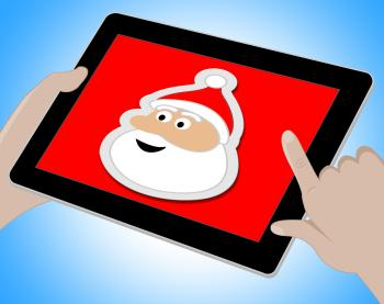 Santa Online Indicates Merry Christmas And Computing