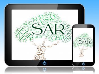 Sar Currency Represents Saudi Arabian Riyal And Foreign
