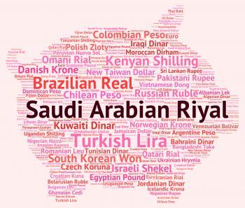 Saudi Arabian Riyal Shows Foreign Currency And Coin