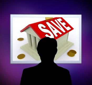 Save On House Man Means Saving For Deposit Or Home