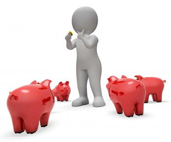 Save Savings Means Piggy Bank And Currency 3d Rendering