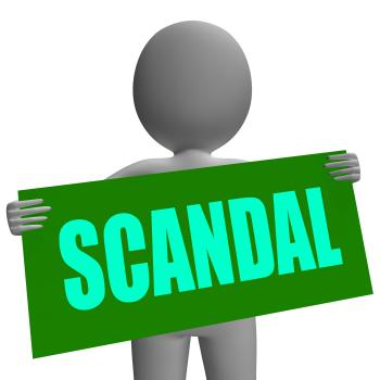 Scandal Sign Character Shows Publicized Incident Or Uncovered Fraud