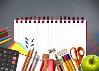 School supplies on notebook - Study and learning concept