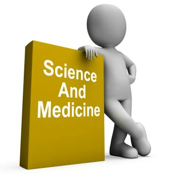 Science And Medicine Book With Character Shows Medical Research