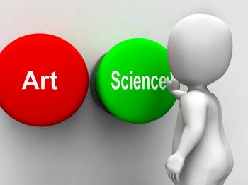 Science Art Buttons Shows Scientific Or Artistic