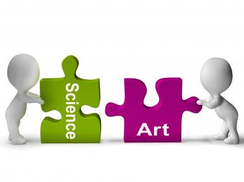 Science Art Puzzle Shows Scientific And Artistic