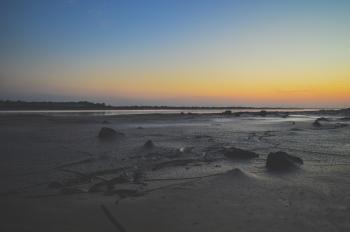 Sea Shore Under Sunset