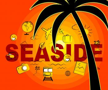 Seaside Icons Represents Beach Holidays And Vacationing