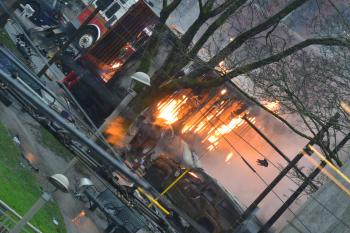 Seattle Colony Fire on Hamilton Street for #yvrshoots Colony TV Series shoot
