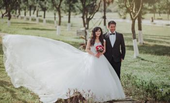 Selective Focus Photography of Groom and Bride