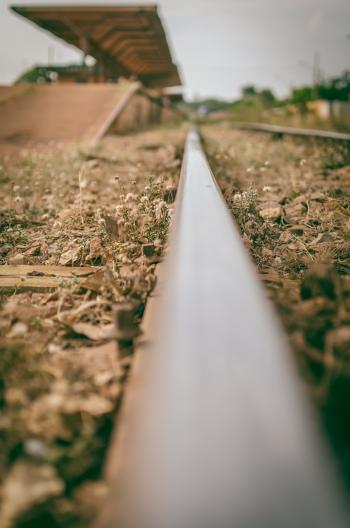 Selective-focus View of Train Station from a Rail