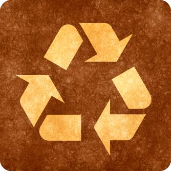 Sepia Grunge Sign - Recycling Symbol
