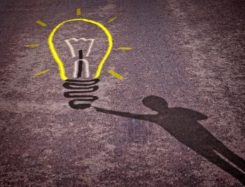 Shadow of a boy touching a lightbulb drawing