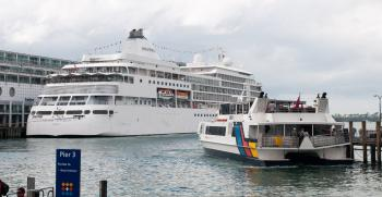 Ships at Pier 3 in Auckland harbour