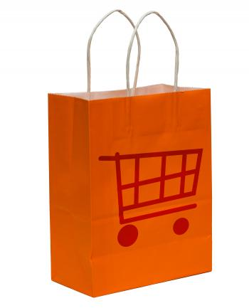 Shopping Bag With Shopping Cart Symbol