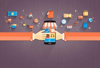 Shopping with Smartphone Flat Design