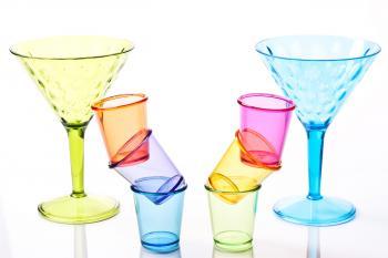 Shot glasses and drinking glasses.