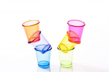 Shot glasses and drinking glasses.