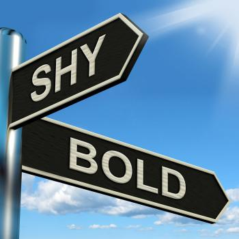 Shy Bold Signpost Means Introvert Or Extrovert