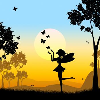 Silhouette Fairy Shows Faries Fairyland And Silhouettes