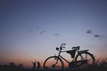 Silhouette of Commuter Bike