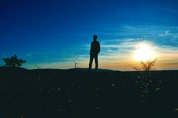 Silhouette of Man Near Tree Photo