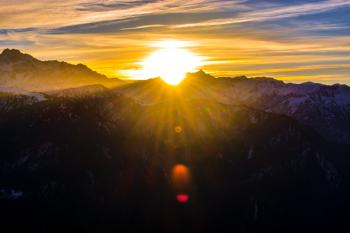 Silhouette of Mountains during Sunrise
