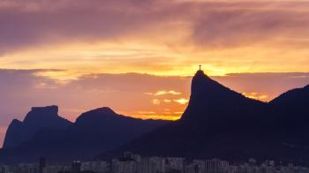 Silhouette of Mountains With Cross