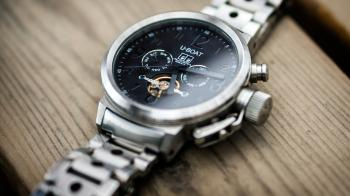 Silver Link Bracelet Black U-boat Chronograph Watch